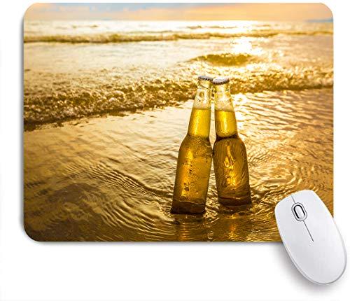 Dekoratives Gaming-Mauspad,Gradient Yellow Love Flaschen Bier am Strand Sonnenuntergang Zeit Alkohol Essen Getränke Parks Sand Sea Bar Beverage,Bürocomputer-Mausmatte mit rutschfester Gummibasis