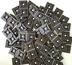 """Self-Adhesive Cable Management Zip-Tie Anchor Mounts Package of 100 (1"""" x 1"""" Mount Pad, Black)"""