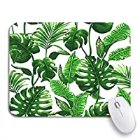 Mabby マウスマット - 240 x 200mm,Green Foliage Tropical Palm Leaves Pattern Jungle in Abstract,for Office and Gaming,Computer Mousepad Non-Slip Rubber Base