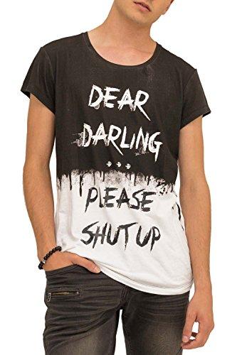trueprodigy Casual Herren Marken T-Shirt Aufdruck Oberteil Cool Stylisch Rundhals Kurzarm Slim Fit Shirt Männer Bedruckt, Größe:XXL, Farben:Schwarz