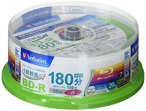 『Verbatim バーベイタム 1回録画用 ブルーレイディスク BD-R 25GB 20枚 ホワイトプリンタブル 片面1層 1-6倍速 VBR130RP20SV1』のトップ画像