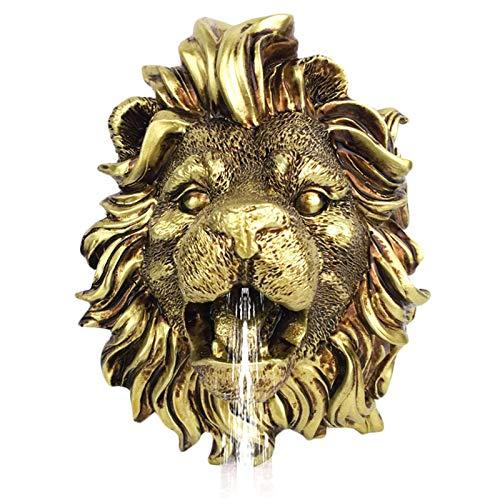 LUCKFY Lion Pared Cabeza Colgando Spray Fuente de Agua de la Boquilla de aspersión de Oro Estanque de jardín Fuente de Agua de Escultura de la Cabeza de riego al Aire Libre Decoración Accesori