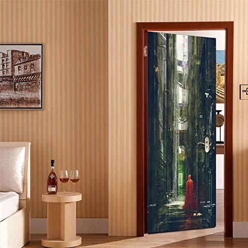 CJZYY 3D Rainy Day in Small Town Door Self-Adhesive Door Murals Sticker Wall Room Decal Gift 90x200cm