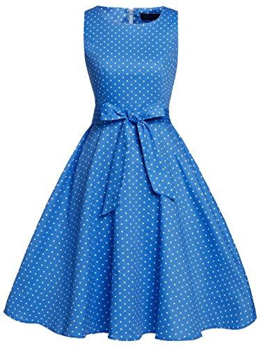 Fairy Couple - Vestito stile vintage/rétro anni '50, motivo floreale con fiocco, abito da cocktail e feste -  Blu -  M
