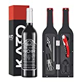 Kato Wine Bottle Accessories Set - Red Wine Corkscrew Opener Kit, Stopper, Aerator Pourer, Foil Cutter, Glass Paint Marker, with Free Drink Stickers, Great Mother's Day Gifts, Grey