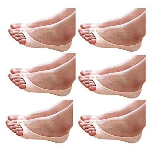 PUTUO Damen Füßlinge Unsichtbare Socken mit Rutschfest Silikon, Damen Ballerina Socken für High Heels, EU 35-40, Khaki
