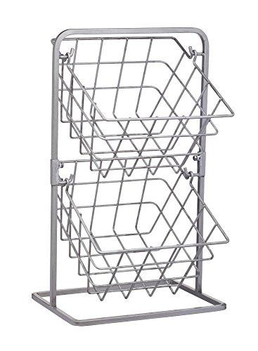 Kitchen Craft Industrial cocina con dos niveles, estilo Vintage, Cestas de almacenamiento de alambre, 25x 22x 41cm, 10x 8.5 x 16pulgadas, Acero al carbono, Gris, 25x 22x 41.5cm