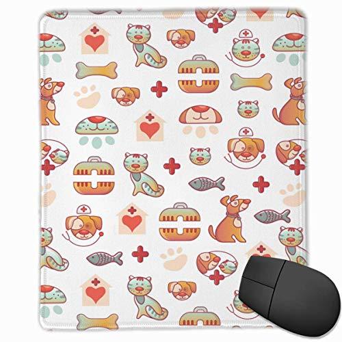 Office Mousepad Hunde und Katzen Vet Clinic Pattern Glattes, Komfortables Gaming-Mauspad mit Rutschfester Gummibasis 25 cm * 30 cm