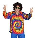 Foxxeo 40129 | cooles 70er 80er Jahre Batikhemd Hippie Hemd für Erwachsene Karneval Fasching Party...