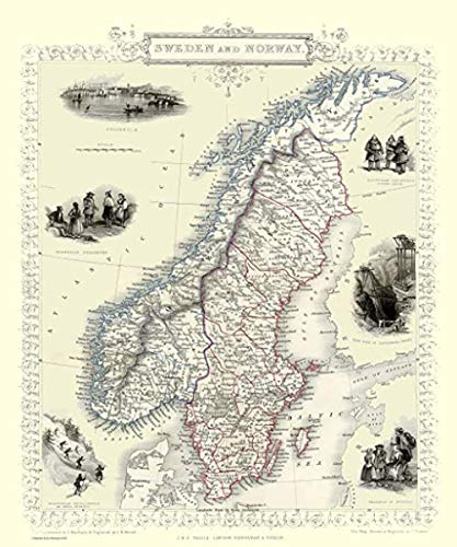 JYTD 1000-teilige Puzzle-Karte von Schweden und Norwegen 1851 von John Tallis 75 * 50CM