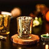 Supreme Lights Glas Teelichthalter 12er Set, 5.2x6.2cm, Gefleckter Teelichtgläser Geschenk Kerzenhalter Deko für Geburtstag, Party, Hochzeit, Feier, Haushalt, Gastronomie(Gold) - 7