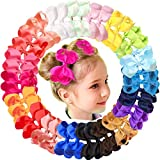 JOYOYO 40Pcs 4.5' Hair Bows Alligator Clips Grosgrain Ribbon Big Bows Clips For Girls Toddlers Kids Children 20 Colors In Pairs