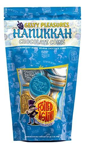 Foiled Again! Chocolate Hanukkah Gelt - Belgian Milk Chocolate Coins - Assorted Hanukkah Designs - Sealed, Resealable Bag - Kosher OUD - 1 pound