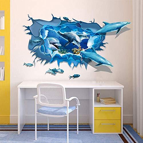 Muursticker driedimensionale muursticker De gebroken ruit van de dolfinggroep, woonkamer, slaapkamer, reduceerkamer achtergrond decoratiesticker
