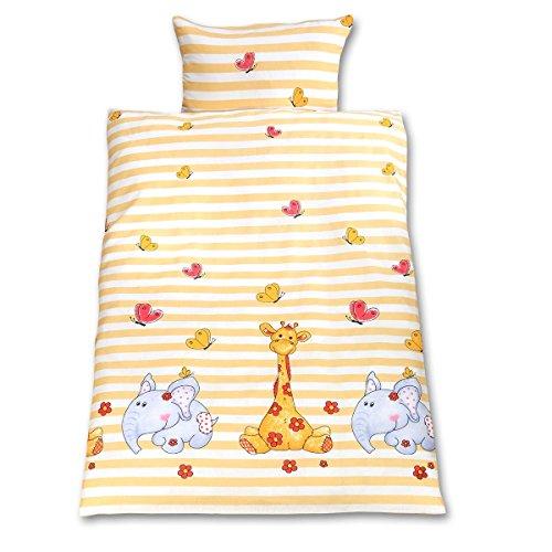 Gräfenstayn® 2-tlg. Kinderbettwäsche Set mit Tiermotiv und integriertem Reißverschluss - aus 100% Baumwolle (Renforce-Qualität) - Deckenbezug 135x100cm und Kissenbezug 60x40cm (Giraffe & Elefant)