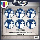 Stick-up Stickers Kit bollini Adesivi Covid19 RIPOSIZIONABILI Distanza di SICUREZZA-20x20 cm-Adesivo plastificato per Esterni e Interni. Etichette adesive (6)