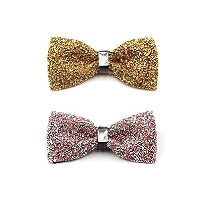 i-VTIES Pre-Tied Bow Tie,Satin,Men's Rhinestone,Crystal Sparkle,Adjustable Length
