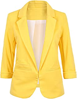 SEBOWEL Women Casual Rolled Up 3/4 Sleeve Open Front Office Blazers Jacket Suits