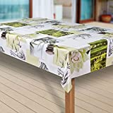 laro Wachstuch-Tischdecke Abwaschbar Garten-Tischdecke Wachstischdecke PVC Plastik-Tischdecken Eckig Meterware Wasserabweisend Abwischbar G11, Muster:Blumen Weiss-grün, Größe:100x120 cm