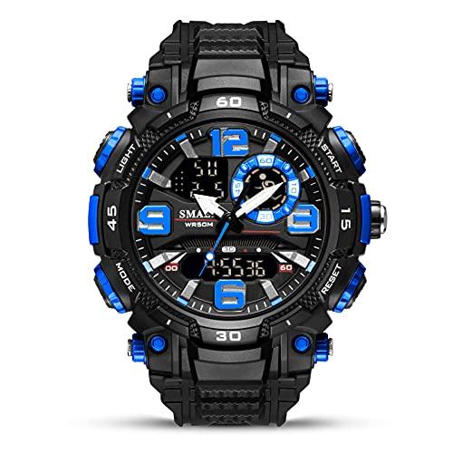 Kcanamgal Relojes Digitales Hombre Militares 50m Impermeable Deportivos Reloj con Alarma Relojes de Muñeca del Ejército de Gran Cara Reloj Led Al Aire Libre para Hombres Correa De Goma,Black Blue