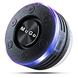 MuGo Bluetooth Speaker, Wireless Speaker with Suction Cup, IP7 Waterproof Portable Bluetooth Speakers for Shower, Mini Outdoor Speaker with Ambient LED Light, 360° Full Surround Sound, Enhanced Bass