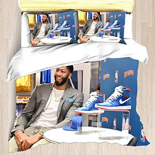 Juego de funda nórdica Anthony Los Angeles Jugador de baloncesto 3 ropa de cama The Brow Davis Lakers Super Star Juego de disposición inversa Reloj Colcha con 2 fundas de almohada New Orleans Charlott