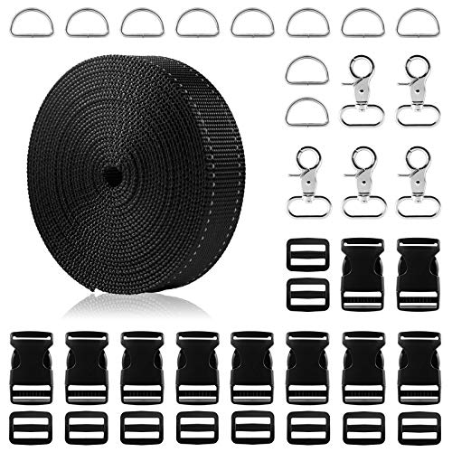 1 Inch Nylon Webbing Strap, 5 Yards Black Reflective Polypropylene Webbing Strap with 1inch Side Release Plastic Buckles, Including Metal D Rings and Swivel Snaps Hooks