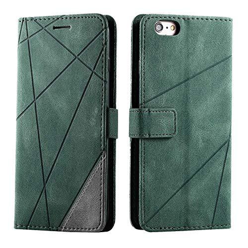 Bear Village Hülle für iPhone 6 Plus/iPhone 6S Plus, Handyhülle mit Kartenfach und Standfuß, Kratzfestes Clamshell PU Leder Schutzhülle für iPhone 6 Plus/iPhone 6S Plus, Grün