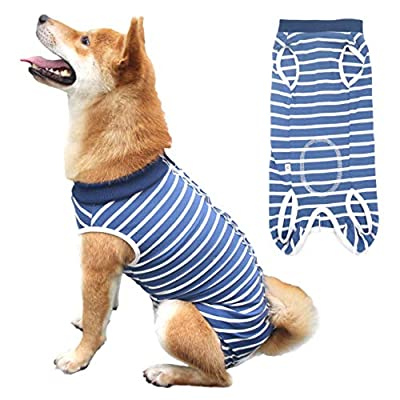 Due Felice Dog Professional Surgical Recovery Suit for Abdominal Wounds Skin Diseases, After Surgery Wear, E-Collar Alternative for Dogs, Home Indoor Pets Clothing Blue & White Stripes XXXL