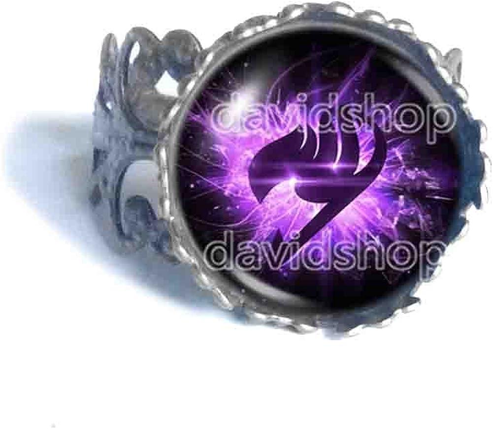 Handmade Fashion Jewelry Purple Wing Symbol Natsu Dragneel Fairy Tail Guild Marks Ring Cosplay Art