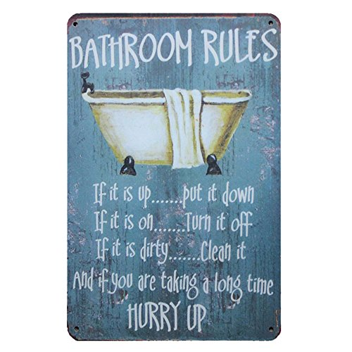 "Mega-Deal Bathroom Rules Rustic Bathroom Decor Retro Vintage Look Wall Tin Sign 12"" X 8"""