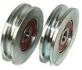 R59-6-10 - Juego de 2 ruedas para puerta corredera (59 mm de diámetro, acero con ranura redonda de 6 mm, cojinete de 10 mm)