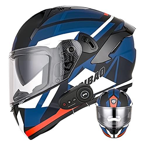 Casco integral de motocicleta Bluetooth con lente antivaho doble D.O.T Cascos de protección de scooter para adultos negros mate adecuados para todas las estaciones (Tormenta rojo-azul) (61~62cm XL)