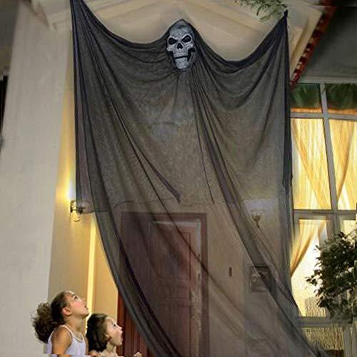 elfisheu Halloween deko Gespenst Geist Gruselig Hängend Türvorhang für Halloween Tür Deko (Schwarz)