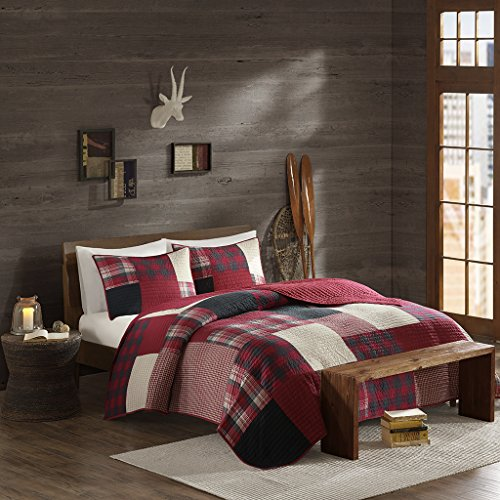 Woolrich 100% Cotton Quilt Reversible Plaid Cabin Lifestyle Design - All Season, Breathable Coverlet Bedspread Bedding Set, Matching Shams, Sunset, Red Full/Queen(92'x96')