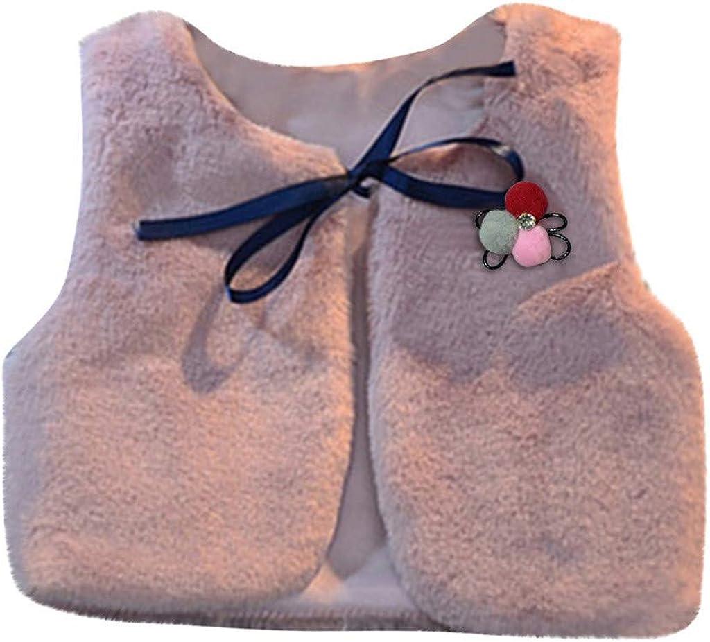 Digood Girls Vest Coat Children Vest Shawl Sweater Vest Brooch Becoration Keep Warm Children's Wear,Cotton OutwearDC7