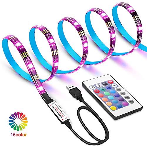 Tiras LED USB de 2 metros con Colores RGB, Para TV Entre 40 y 60 Pulgadas, con Control Infrarrojo