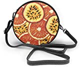BAODANLA Bolso redondo mujer Passion Fruit and Orange Pattern Women Soft Leather Round Shoulder Bag Zipper Circle Purses Sling Bag
