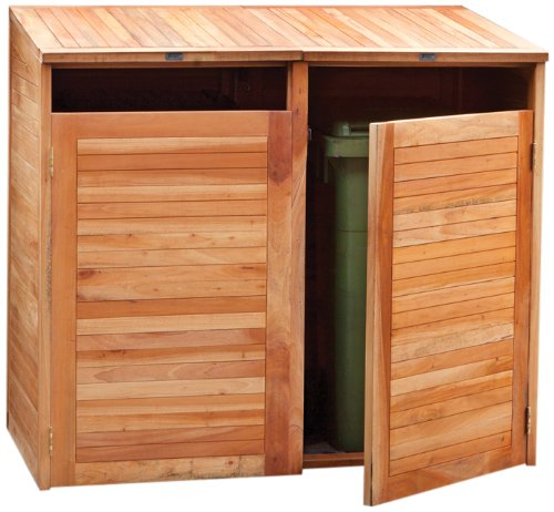 Tuindeco 29.1005 Containerbox Mülltonnenbox doppel aus Hartholz mit Gasfeder