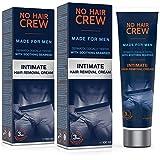 2 x NO HAIR CREW Crème dépilatoire intime pour hommes, extra douce - Set de 2-200ml