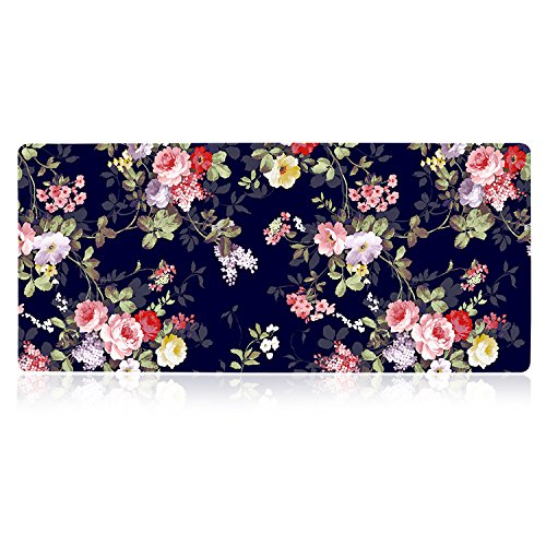 iLeadon Desk Pad Protector, Large Gaming Mouse Pad 35.1 x 15.75-inch 2.5mm Thick, Cute Desk Decor, Office Desk Writing Pad with Non-Slip Rubber Base for Home Office Work Accessories, Navy Blue Rose