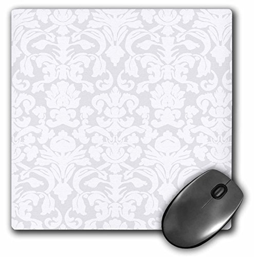 3dRose LLC 8 x 8 x 0.25 Inches Mouse Pad, Grey/Silver/White French Floral Fancy Damask Pattern (mp_76583_1)