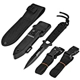 BOffer Scuba Diving Knife Double Edge with Nylon and ABS Sheaths - Black Fixed Blade Tactical Sharp knives with Edge Line Cutter,Sawing Edge,2 Pairs Leg Strap for Divers Dive,Snorkeling,Hu (black tip)