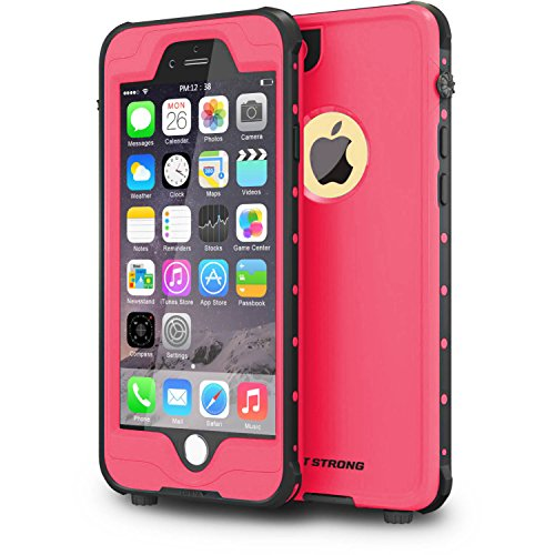 "ImpactStrong iPhone 6 Plus Waterproof Case [Fingerprint ID Compatible] Slim Full Body Protection for Apple iPhone 6 Plus & 6s Plus (5.5"") - Pink"