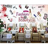 Finloveg Papier Peint Personnalisé Cosmétiques Européens Et Américains Peints À La Main Ongles Magasin Maquillage Boutique Mur Fond Murs 3D Papier Peint-400X280Cm