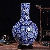 Macetas Flores, Chino Jingdezhen Antigüedades China Hecho a mano Clásico Diseño floral azul Patrón de flor de porcelana blanca Auténtica cerámica Decoración del hogar (Color: A) (Co