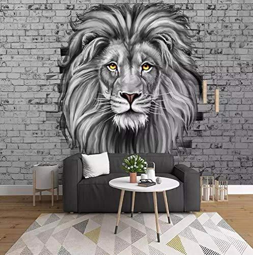 Papierwand, niet geweven, 3D-papier, personaliseerbaar, moderne foto in wit en zwart met leeuwen, voor slaapkamer, voor kinderen, achtergrond en donker, beschilderd, creatief 200 * 140