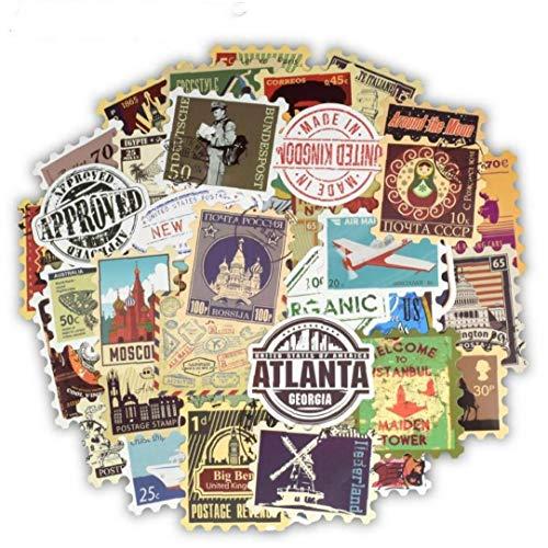 50pcs Vintage Stamp Adesivi Landmark Viaggi Costruzione Storia Postale Francobollo Decalcomanie Per Diy Suitcase Chitarra Portatile Della Bici 'automobile