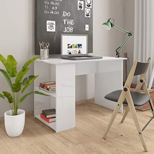 Tidyard Computertisch PC-Tisch Schreibtisch Gaming Tisch Bürotisch Officetisch Laptoptisch Arbeitstisch für Home Office und Büro, mit 2 Regalen, Hochglanz-Weiß 110x60x73 cm Spanplatte