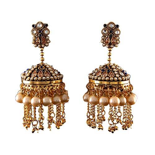 JewelryGift Pendientes pequeños Jhaalar Jhumki chapados en oro zafiro azul CZ Moti Diseñador Moda Joyería para niñas y mujeres MPE 7-AZUL